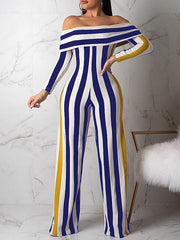 Off Shoulder Stripe Jumpsuit--M