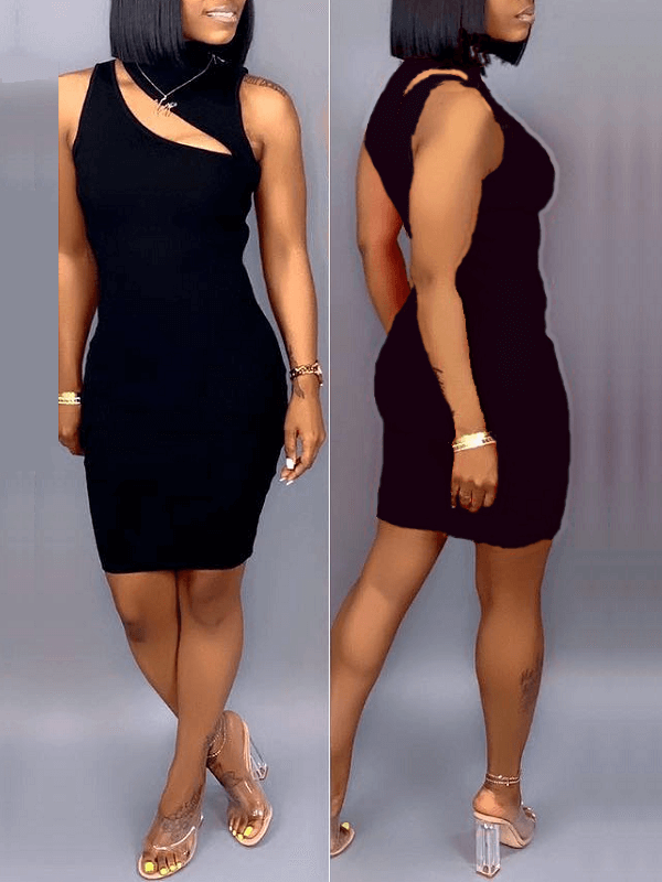 Rib-Knit Cutout Bodycon Dress