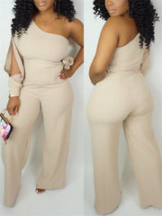 One-Shoulder Jumpsuit With Belt