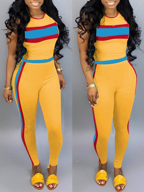 Colorblock Tank Top & Pants Set