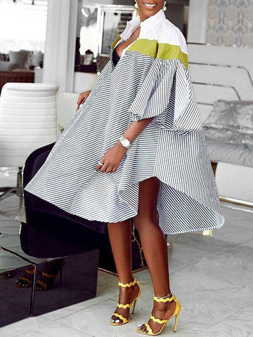 Printed Puff-Sleeve Dress