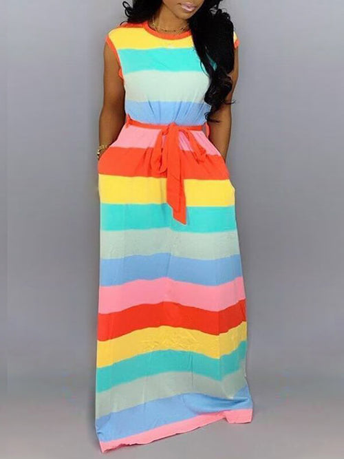 Rainbow Stripe Maxi Dress
