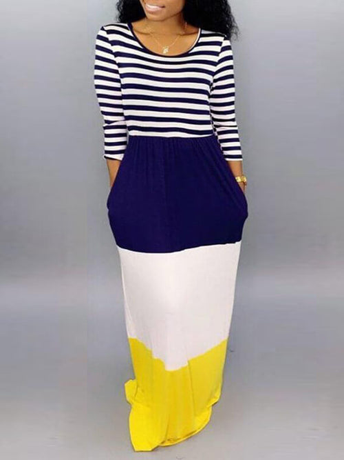 Stripe Combo Colorblock Maxi Dress