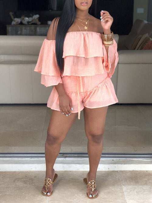 Off-Shoulder Ruffle Top & Shorts Set