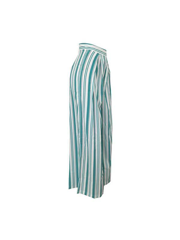 Stripe Wide-Leg Pants
