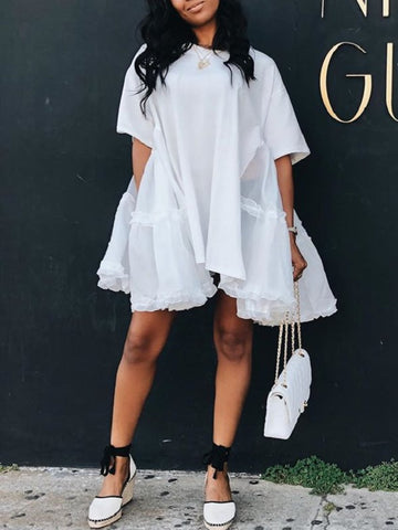 Tiered Ruffle Drawstring Stripe Dress