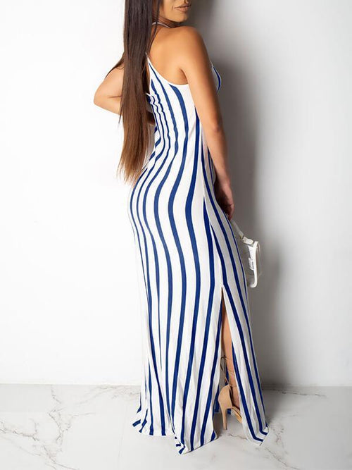Stripe Lace-Up Maxi Dress