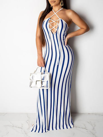 Stripe Lace-Up Cami Dress