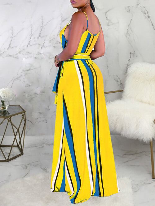 Stripe Cami Maxi Dress With Belt