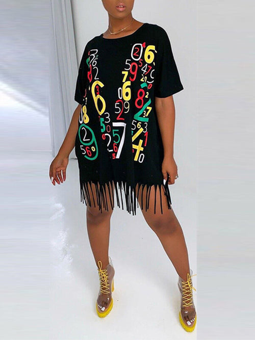 Slogan Tassel Tee Dress