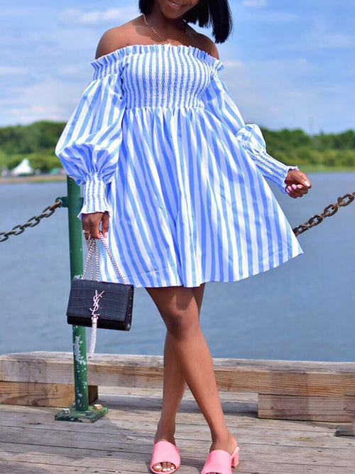 Stripe Off Shoulder Tent Dress