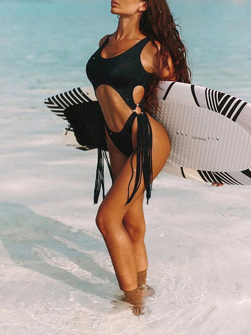 Cutout Tassel One Piece