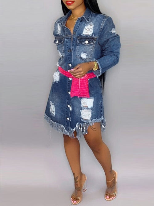 Ripped Button-Down Denim Dress