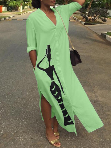 African Beauty Slit Shirt Dress