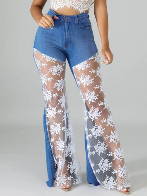 Lace Combo Flared Jeans