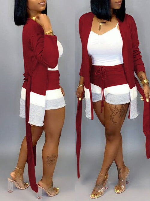 Three-Tone Cardigan & Shorts Set--Sale