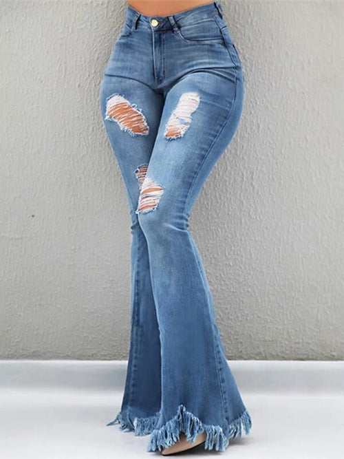 Fringe-Hem Ripped Flared Jeans