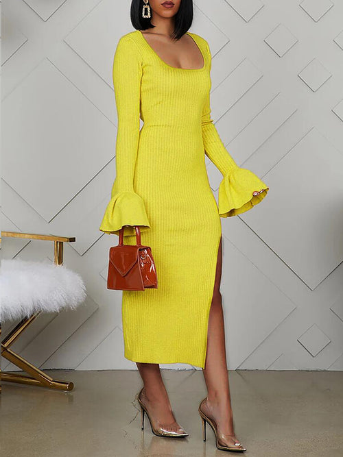Bell-Sleeve Slit Dress