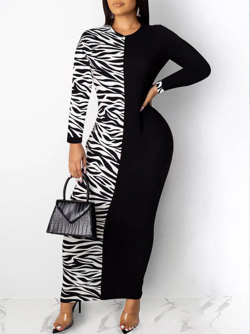 Zebra-Striped Combo Maxi Dress