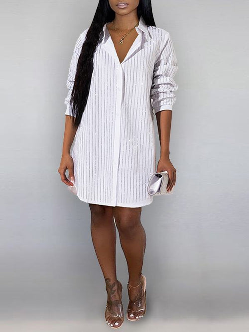 Studded Stripe Shirt Dress