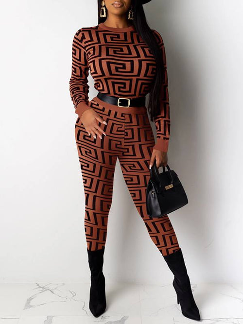 Printed Crewneck Top & Pants Set