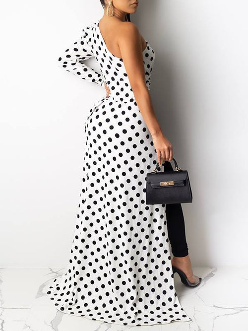 Dot One-Shoulder High-Low Top