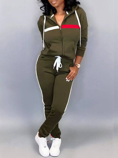 Zip-Front Hoodie & Side-Stripe Pants Set