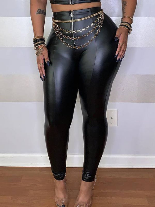 Faux-Leather High-Waist Leggings