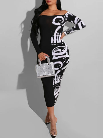 Graphic Printed Bodycon Dress---clearance