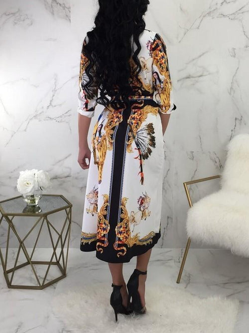 Tribal Printed Belted Shirt Dress