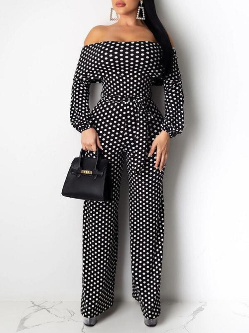 Dot Off-Shoulder Belted Jumpsuit