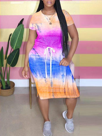 Multicolor-Print Shirt & Pleated Skirt Set
