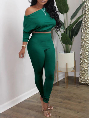 Solid Crop Top & Slouchy Pants Set