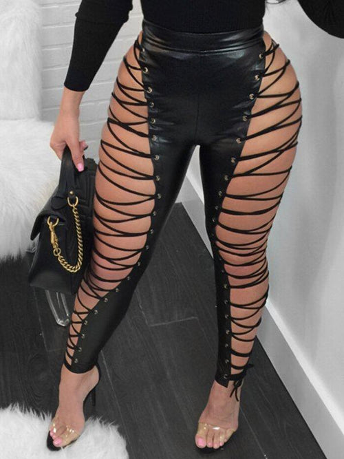 Faux Leather Lacing Pants