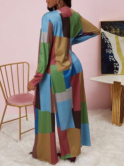 Colorblock Slit Cardigan