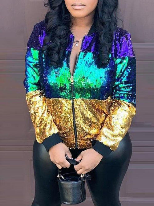 Sequin Colorblock Jacket