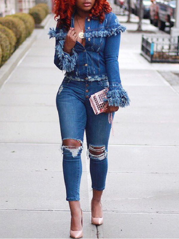 Distressed Tassel Crop Jacket