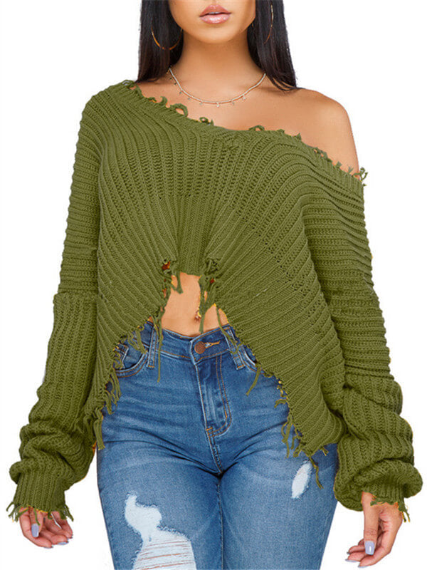 Destroyed One Shoulder Oversize Sweater