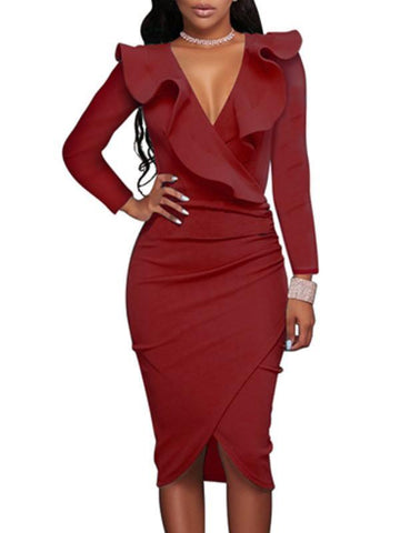 Backless Solid Strap Slim Dress-(S) - Clearance