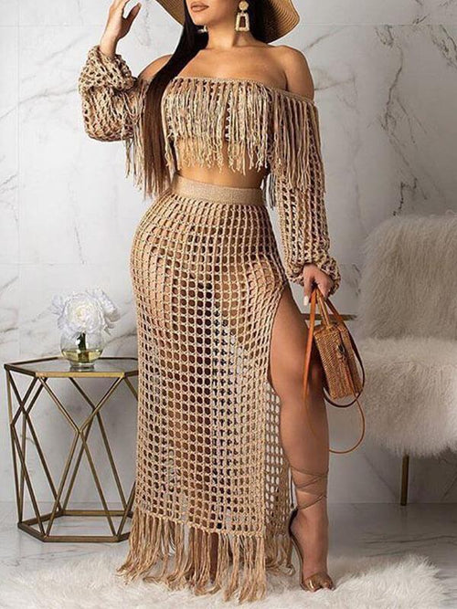 Mesh Tassels Crop Top & Skirt Set