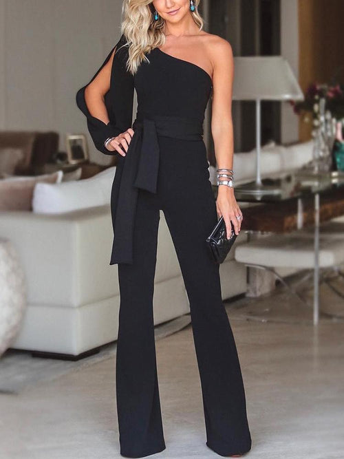 Black Stylish One Shoulder Slit Sleeve Jumpsuit - Queenfy