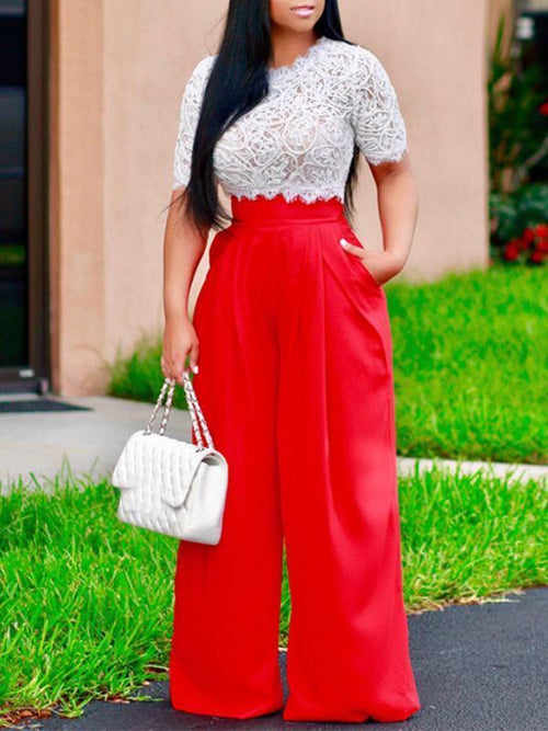 Jumpsuits - Lace Embroidery Top Wide Leg Pants