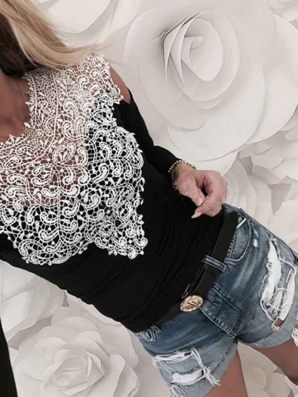 Tops - Lace Patchwork Strapless Top