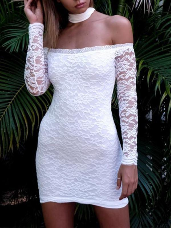 Boat Neck Long Sleeve Lace Dress