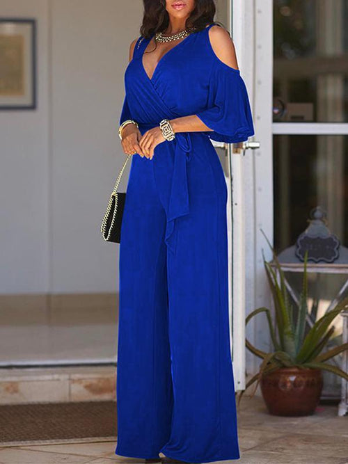 Short Sleeve Solid Color Jumpsuit With Belt-M