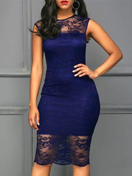 Sleeveless Contrast Lace Bodycon Dress - Queenfy
