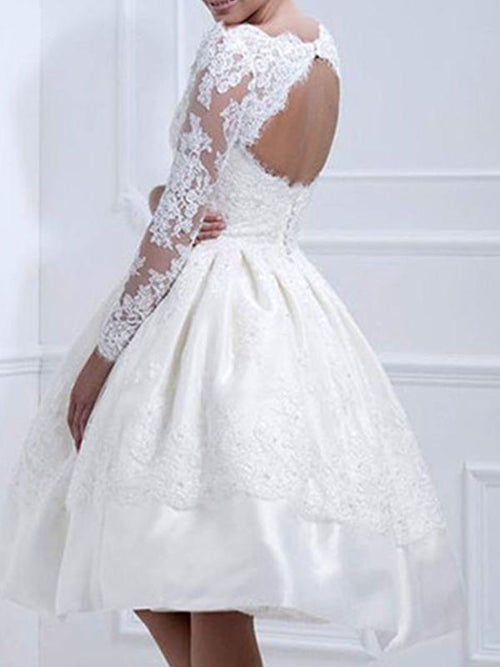 Bare Back Lace White Dress - Queenfy
