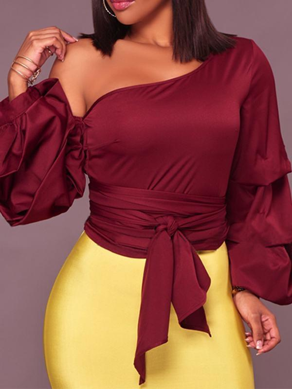Belted Skew Neck Layered Sleeve Top - Queenfy