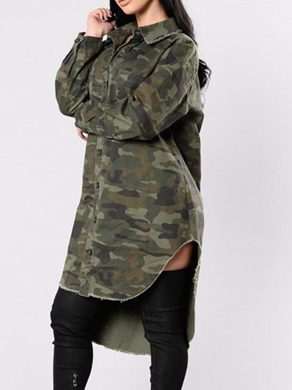 Camouflage High Low Coat - Queenfy