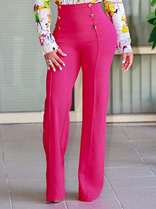 High Waist Button Long Loose Pants